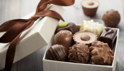 A box of chocolate truffles