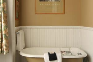 Clawfoot tub in bathroom