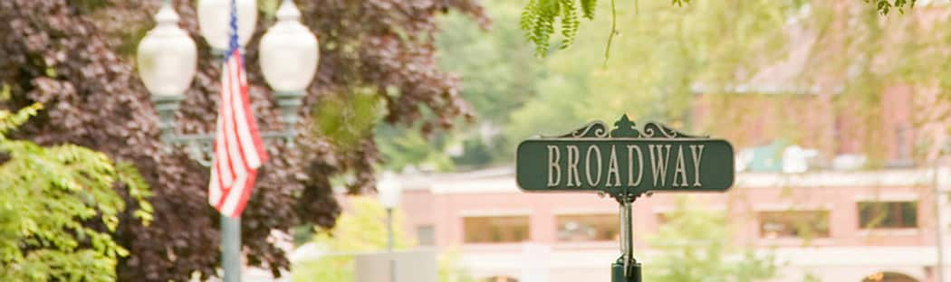 Broadway street sign - Downtown Saratoga Springs
