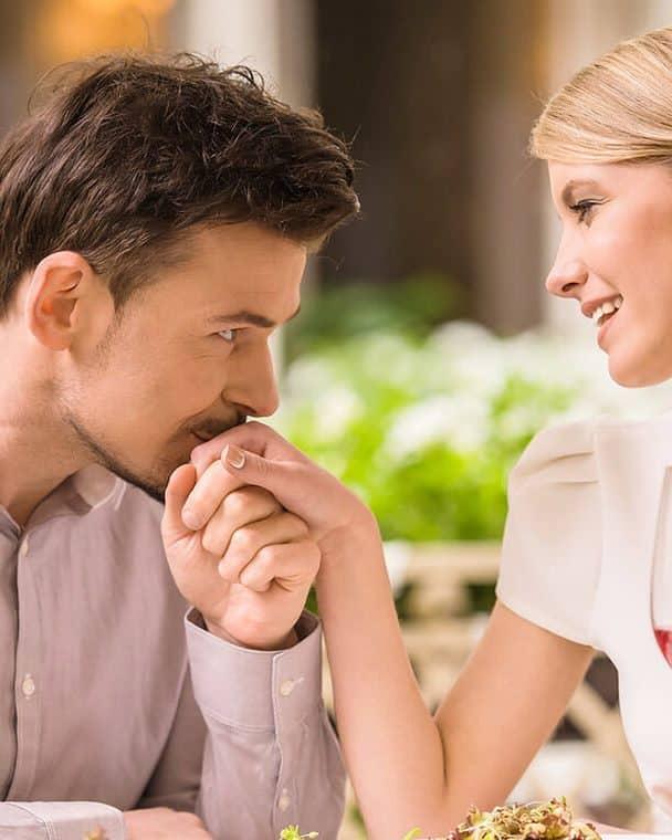 Couple enjoys a romantic dinner