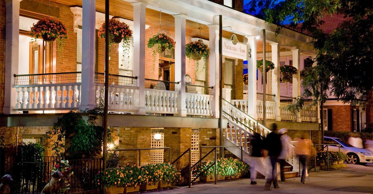 Saratoga Arms exterior at night