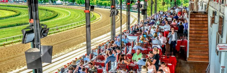 Spectators enjoy a day at the Saratoga Race Course.