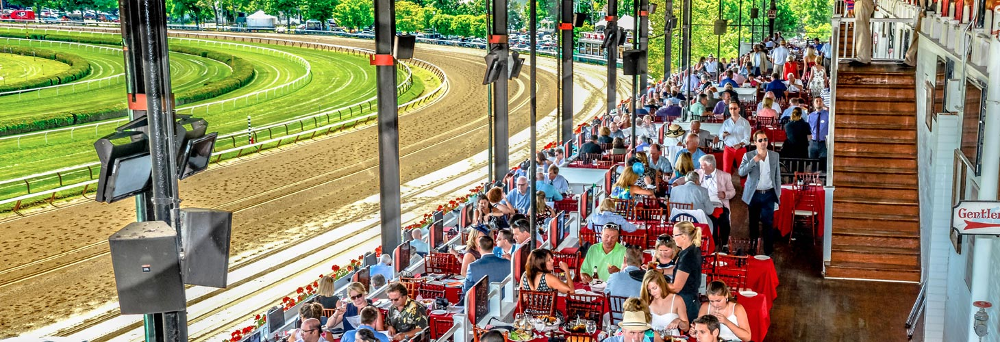 Spectators enjoy a day at the Saratoga Race Course