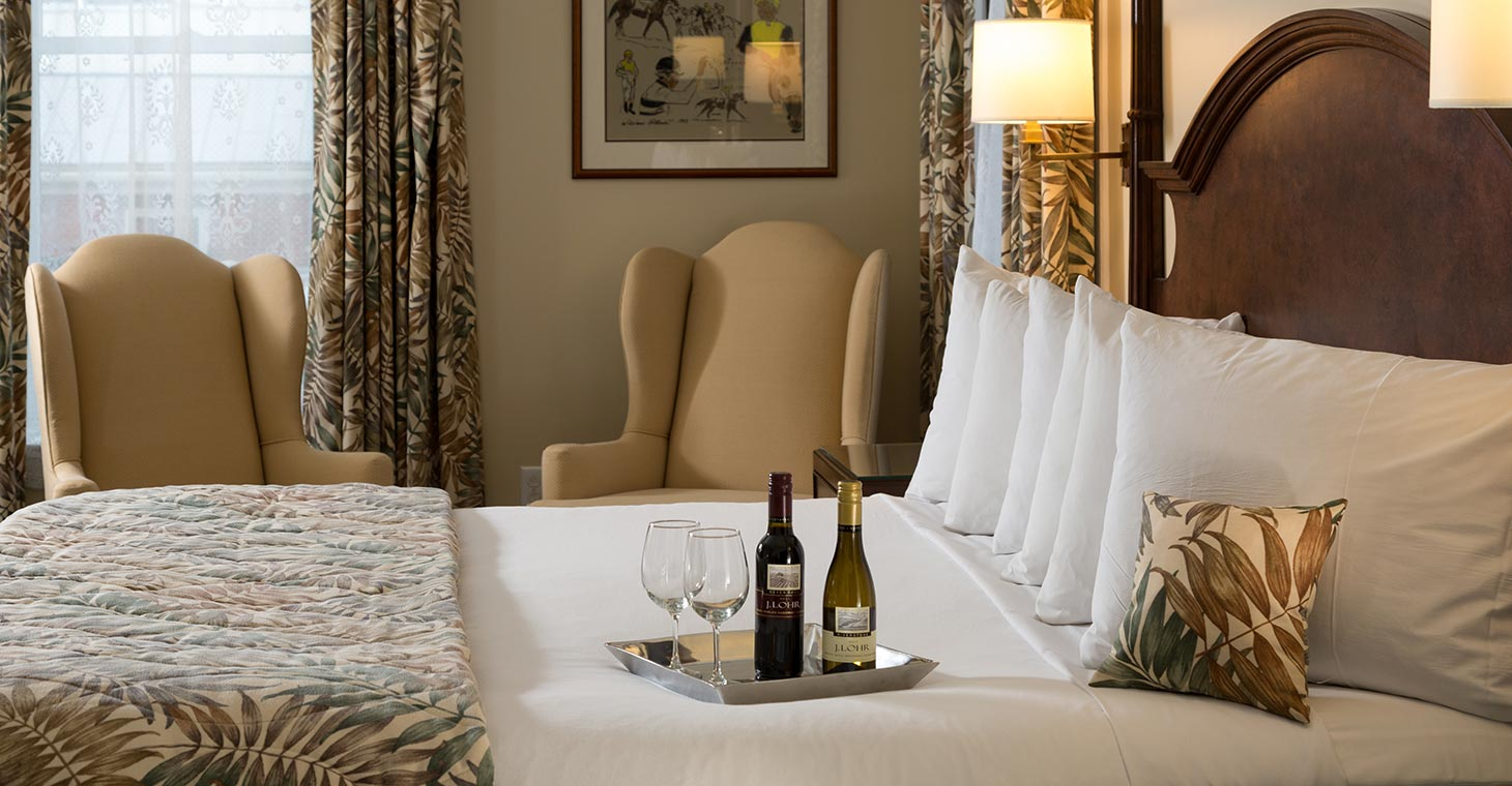 Enjoy a glass of wine in your room, Saratoga Springs honeymoon