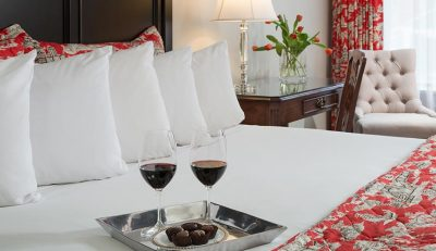 Wine awaits in a room of our inn