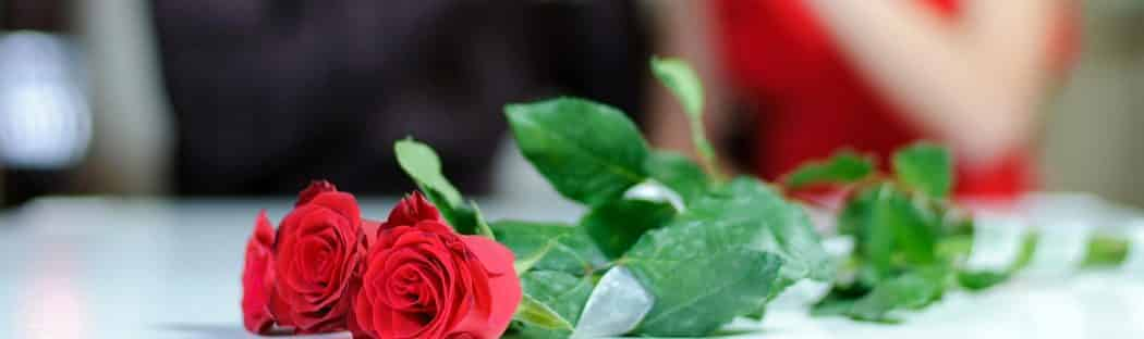 Red roses sit on table