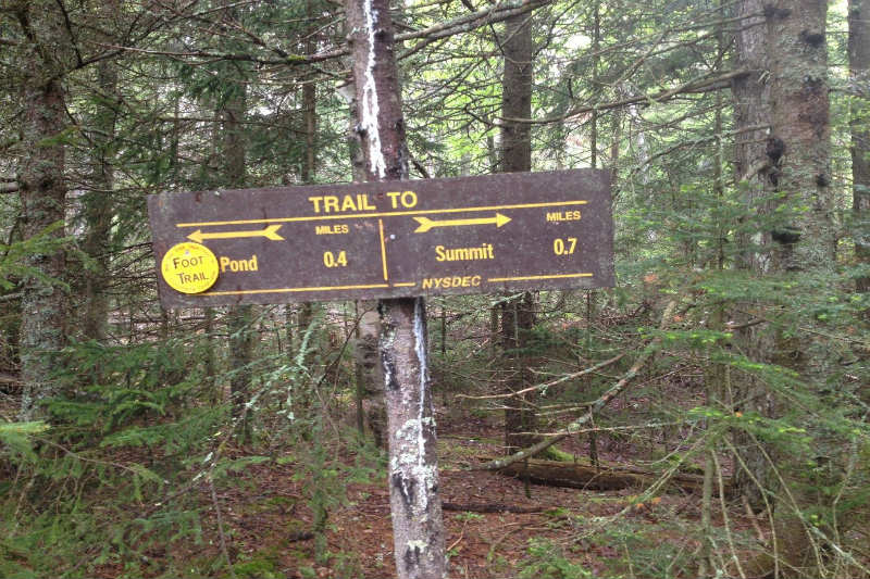 Trail signs on Crane Mountain