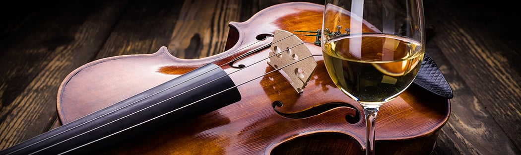 Violin and a glass of wine