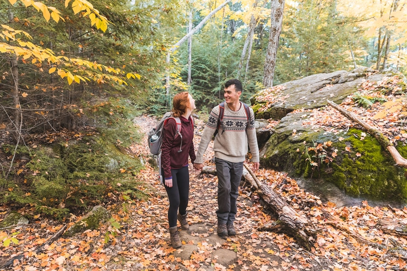 Couple hiking in the fall