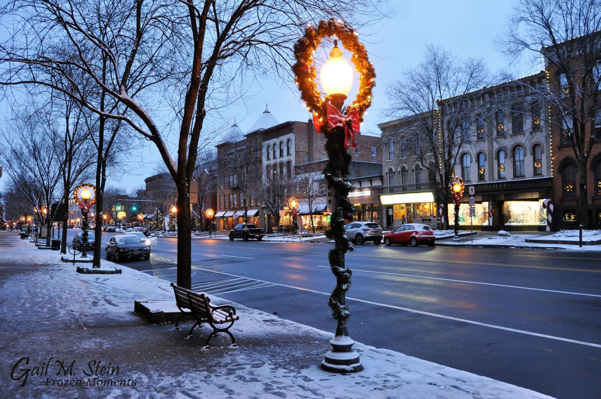 Winter Shops in downtown Saratoga Springs