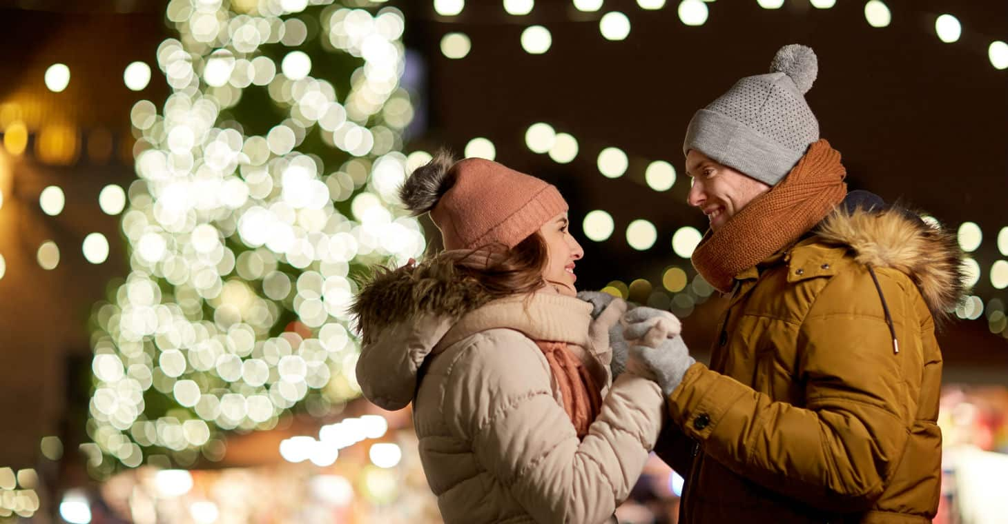 Couple outdoors in winter in Saratoga Springs, NY